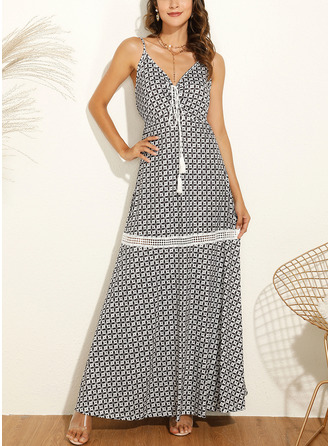 Print A-line Sleeveless Maxi Casual Vacation Type Dresses