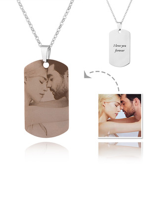 Custom Silver Engraving/Engraved Tag Photo Necklace - Mother's Day Gifts
