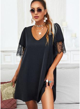 Spitze Einfarbig Etuikleider Schlagärmel Kurze Ärmel Mini Kleine Schwarze Lässige Kleidung Tunika Modekleider