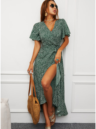 Print A-line Short Sleeves Split Sleeve Asymmetrical Casual Vacation Wrap Dresses
