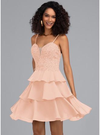 A-Line Sweetheart Short/Mini Chiffon Homecoming Dress With Beading