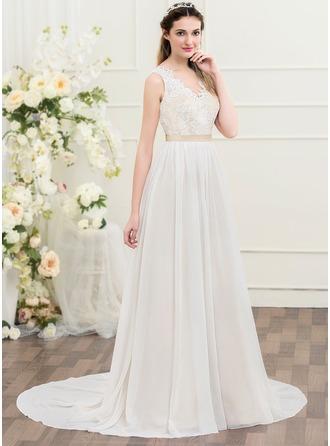 A-Line/Princess V-neck Court Train Chiffon Wedding Dress