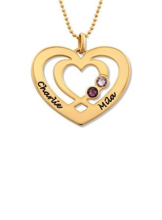 Personalized 18k guldpläterad två Namnhalsband Hjärta Halsband Birthstone Halsband Graverat Halsband - Julklappar