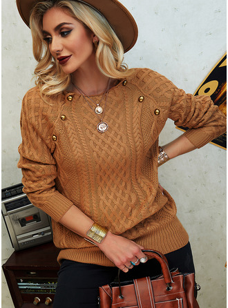 Stand collar Casual Solid Cable-knit Sweaters