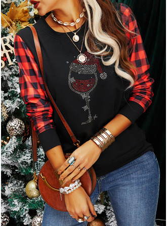 Sequins Grid Round Neck Long Sleeves Christmas Sweatshirt