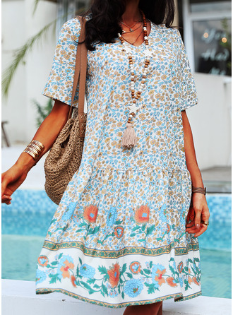 Floral Print Shift Short Sleeves Midi Casual Vacation T-shirt Dresses