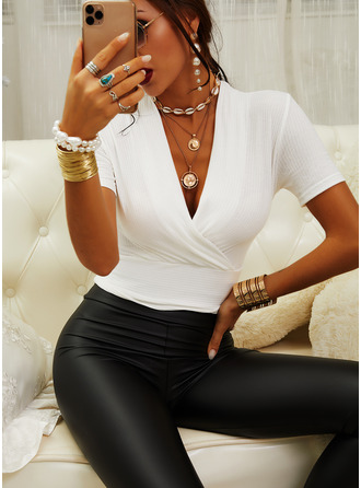 Solid V-Neck Short Sleeves Casual
