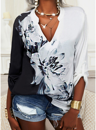 Color Block Floral Print V-Neck Long Sleeves Casual