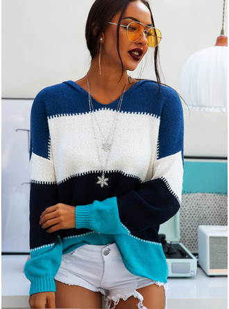 Hooded Casual Color Block Chunky knit Sweaters