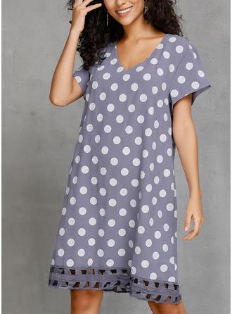 PolkaDot Shift Short Sleeves Midi Casual T-shirt Dresses