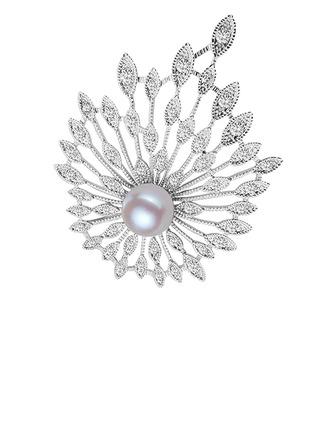 Fjær Design Legering/Rhinestones/Imitert Perle med Rhinestone/Imitert Perle Damene ' Brosje