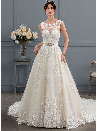 Ball-Gown Scoop Neck Royal Train Tulle Wedding Dress With Beading Sequins