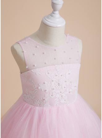A-Line Scoop Neck Knee-length With Beading/Bow(s) Tulle/Lace Flower Girl Dress