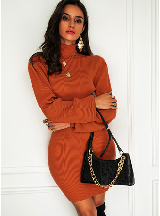 Turtleneck Casual Long Tight Solid Sweaters