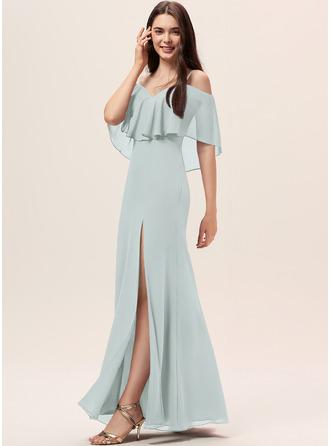 Sheath/Column Off-the-Shoulder Floor-Length Chiffon Bridesmaid Dress With Split Front