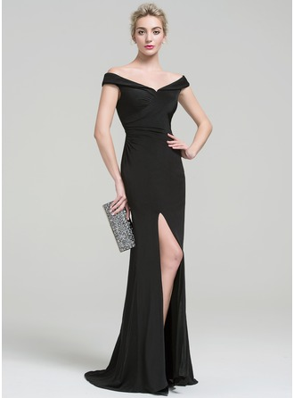 Sheath/Column Off-the-Shoulder Sweep Train Jersey Prom Dress With Ruffle Split Front
