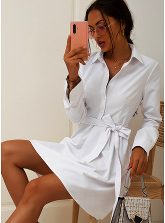 Above Knee Shirt collar Polyester Button/Solid Long Sleeves Fashion Dresses