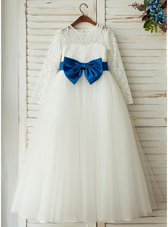 A-Line/Princess Floor-length Flower Girl Dress - Tulle/Lace Long Sleeves Scoop Neck With Undetachable Sash