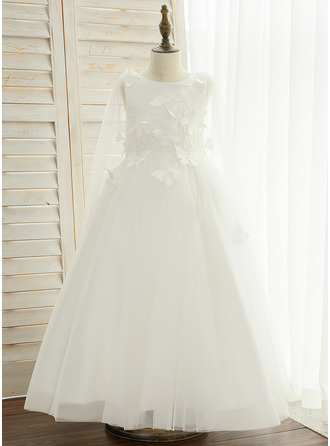 A-Line Ankle-length Flower Girl Dress - Satin/Lace Sleeveless Scoop Neck With Appliques