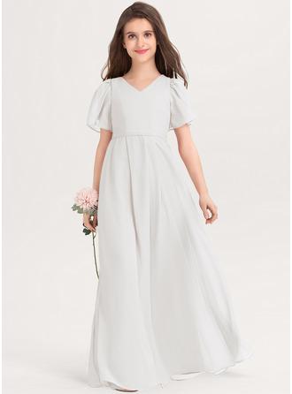 A-Linie V-Ausschnitt Bodenlang Chiffon Kleider für junge Brautjungfern mit Schleife(n)