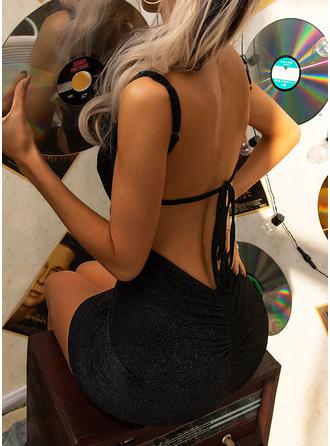 Einfarbig Figurbetont Ärmellos Mini Kleine Schwarze Party Sexy Typ Modekleider