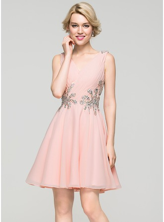 A-Line/Princess V-neck Short/Mini Chiffon Homecoming Dress With Ruffle Beading Sequins
