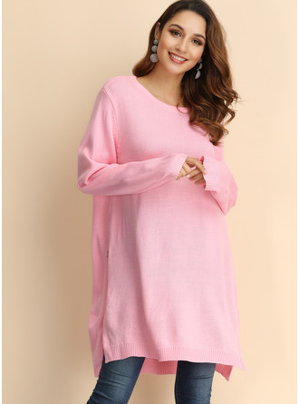 Above Knee Round Neck Polyester Stitching Long Sleeves Fashion Dresses