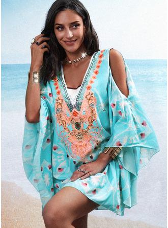 Blommig Print Shiftklänningar 3/4 ärmar Flare Ärm Split Ärmar Mini Boho Semester Tunika Modeklänningar