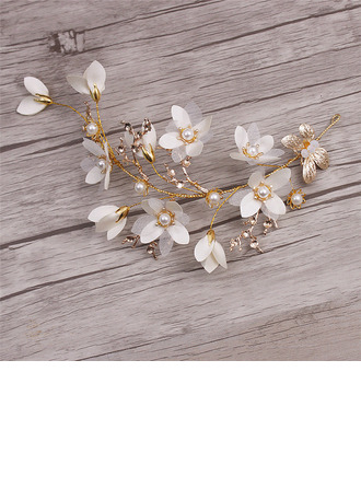 Special Alloy/Silk Flower Combs & Barrettes With Venetian Pearl (Set of 2)