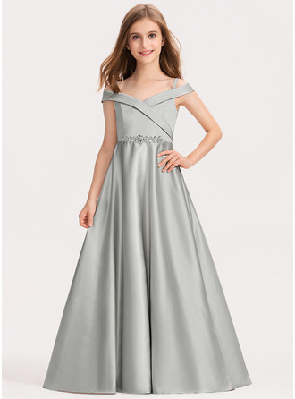 Ball-Gown/Princess Off-the-Shoulder Floor-Length Satin Junior Bridesmaid Dress