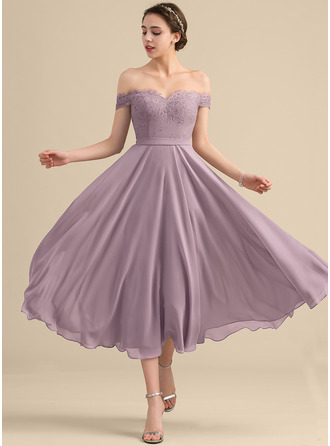A-Line/Princess Off-the-Shoulder Tea-Length Chiffon Lace Cocktail Dress With Beading Sequins