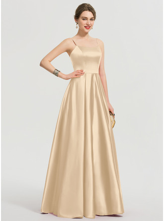 A-Line Square Neckline Floor-Length Satin Prom Dresses