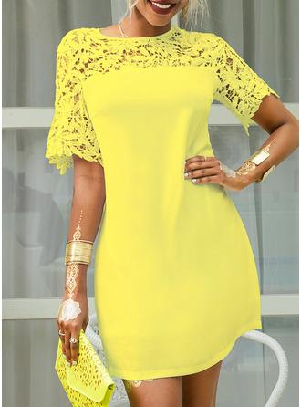 Lace Solid Shift Short Sleeves Mini Casual Elegant Dresses