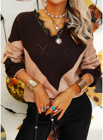 V-Neck Casual Lace Color Block Sweaters (1002255175)