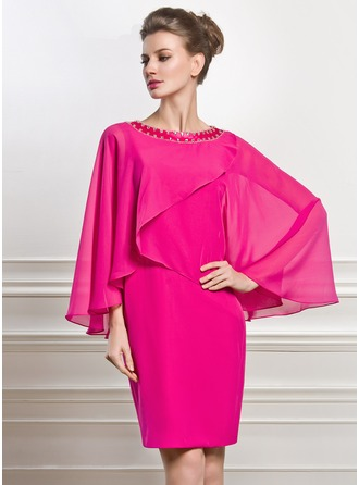 Sheath/Column Scoop Neck Knee-Length Chiffon Mother of the Bride Dress With Beading