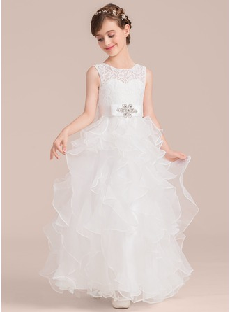 A-Line/Princess Scoop Neck Floor-Length Organza Junior Bridesmaid Dress With Sash Beading