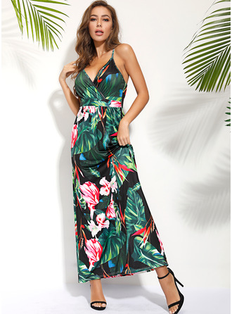 Floral Print A-line Sleeveless Maxi Casual Sexy Vacation Skater Dresses
