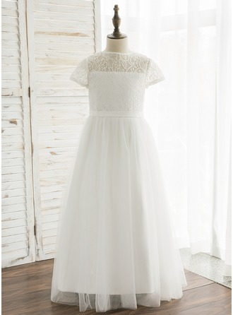 A-Line/Princess Ankle-length Flower Girl Dress - Tulle/Lace Short Sleeves Scoop Neck With Back Hole