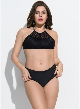 Elegant Solid Color Polyester Bikinier badedragt