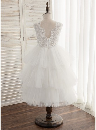 A-Line/Princess Ankle-length Flower Girl Dress - Tulle/Lace Sleeveless Scoop Neck With V Back