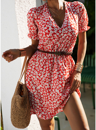 Floral Print A-line Puff Sleeves Short Sleeves Mini Casual Skater Dresses