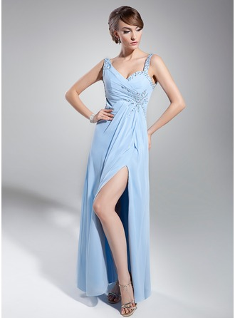 Empire Sweetheart Floor-Length Chiffon Evening Dress With Ruffle Beading Sequins Split Front