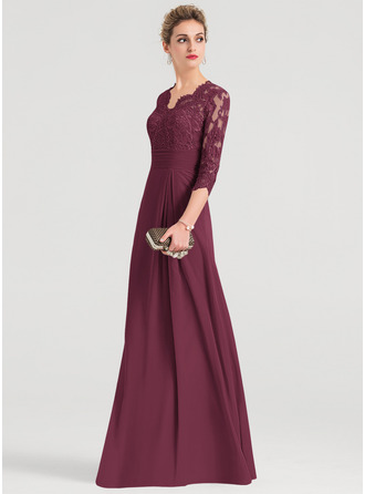 Sheath/Column V-neck Floor-Length Chiffon Evening Dress