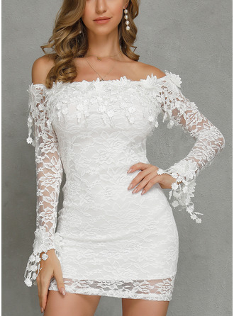 Above Knee Off the Shoulder Lace Lace Long Sleeves Fashion Dresses