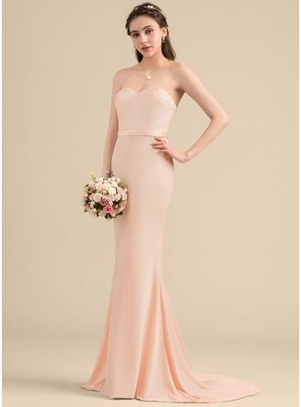 Trumpet/Mermaid Sweetheart Sweep Train Sequined Jersey Bridesmaid Dress