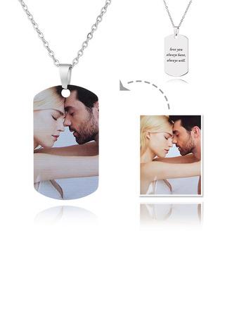 Personnalisé Gravure / gravé Étiquette Collier Pour Homme Impression Couleur Collier Photo - Cadeaux Pour La Fête Des Mères