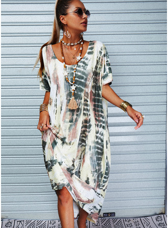 Tie Dye Shift Short Sleeves Maxi Casual Vacation Dresses