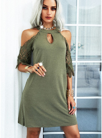 Lace Solid Shift 1/2 Sleeves Mini Casual Tunic Dresses