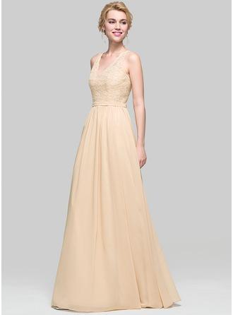 A-Line/Princess V-neck Floor-Length Chiffon Bridesmaid Dress