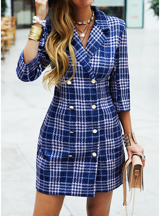 Plaid Sheath 3/4 Sleeves Mini Casual Elegant Dresses